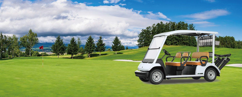 環境にやさしいバッテリーモデルのゴルフカー。